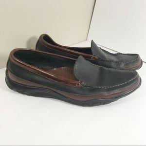 Allen Edmonds black brown slip on leather loafers